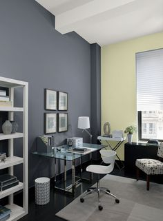 Blue-gray and pale green study. Benjamin Moore Eclipse, Rainforest Dew and…