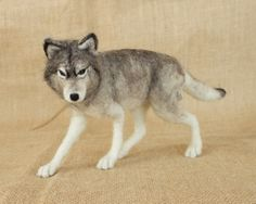 Donatello the Gray Wolf: Needle felted animal sculpture by The Woolen Wagon