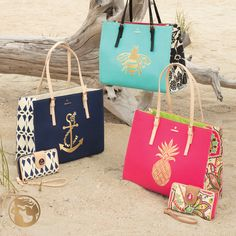 Spartina 449 Sand Totes | Kalypso Collection | Handbags and Accessories | Pineapple Anchor Bee Elephant