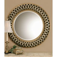 Shop Global Direct 45-in x 45-in Scratched Silver with Heavily Antiqued Inner and Outer Rims Beveled Round Framed French Wall Mirror at Lowes.com