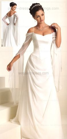 satin chiffon plus size wedding dress with sleeves