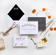Old Glamor vintage inspired wedding invitations | Smitten on Paper