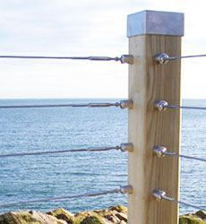 Wire Balustrade Kits and Cable Systems. Stainless steel wire balustrade cable railing system for architectural, domestic and garden use. Wire Balustrade, Balustrade Design, Balustrades, Wire Deck Railing, Balcony Railing Design, Deck Railing Ideas Diy, Garden Railings, Cable Fencing, Mesh Fencing