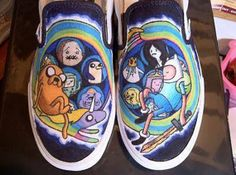 Adventure Time Vans - These shoes look awesome as well! Painted Vans, Painted Sneakers, Painted Shoes, Custom Vans, Custom Shoes, Custom Sneakers, Adventure Time Shoes, Cartoon Shoes, Walk This Way