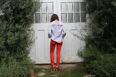 From the closet of Claire Cottrell. Orange denim on my list. I also have my eye on shirts with cut-out details like this.