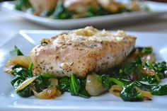 Roasted Garlic Chicken with Sauteed Spinach and Onions - Mother Thyme