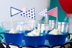 Blue Jello with flags for a Nautical Love Boat Bon Voyage Party