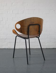 Olavi Kettunen; Bent Plywood and Enameled Metal Chair for J. Merivaara, 1950s.