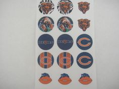 CHicago Bear set3 flat back buttons or pin badge cabochons embellishment centers #flatbackoneinchbutton