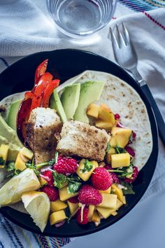 Fish tacos mango and raspberry salsa