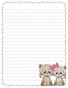 Printable Lined Paper, Free Printable Stationery, Printable Scrapbook Paper, Printable Letters, Letter Stationery, Stationery Paper, Scrapbook Cover, Baby Scrapbook, Kittens Cutest Baby