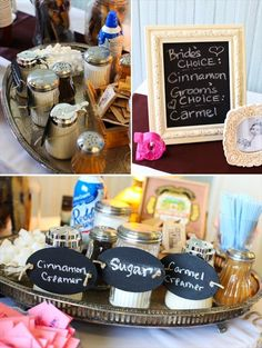 coffee bar wedding via 7 Things Every Wedding Coffee Bar Needs to Have