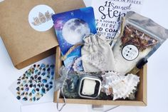 MoonBox by Gaia: A holistic subscription box with a soak herbal blend, raw crystals, a meditation, artisan item, essential oils, and an oracle card. ($30)