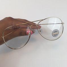 Gold Clear Aviator Glasses NWT RETA