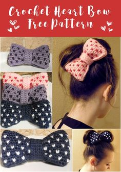 Hair Accessories Crochet Heart Bow Pattern Free pattern for a crochet hair bow with hearts all over. Crochet Diy, Crochet Hair Bows, Crochet Flower Headbands, Bonnet Crochet, Crochet Hair Accessories, Crochet Headband Pattern, Crochet Flower Patterns, Crochet Beanie, Crochet Hair Styles