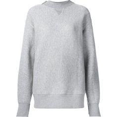 Sacai Knitted Panel Sweatshirt ($664) ❤ liked on Polyvore featuring tops, hoodies, sweatshirts, grey, mock neck sweatshirt, mock neck top, long sleeve tops, gray top and grey long sleeve top
