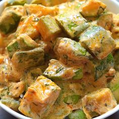 This Creamy Zucchini Sauce is bursting with flavor! Made with paprika-roasted zucchinis, sour cream, garlic, and fresh herbs, it tastes … Zucchini Dinner Recipes, Zuchinni Recipes, Vegetarian Zucchini Recipes, Recipe Zucchini, Healthy Zucchini, Vegetarian Keto, Vegan Meals, Heart Healthy Recipes, Diet Recipes