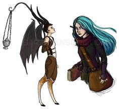 latest sketches just for fun! characters from Laini Taylor's book, Daughter of Smoke and Bone. By Sarah Fensore