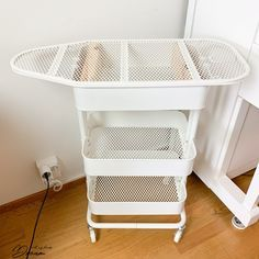 Ironing board on wheels: Your sewing room needs this - IKEA Hackers Sewing Room Design, Sewing Room Decor, Sewing Room Organization, Craft Room Storage, My Sewing Room, Storage Spaces, Fabric Storage, Fabric Boxes, Fabric Basket