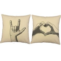 Sign Language I Love You Pillows - Sign Language Print Pillow Covers with or without Cushion Inserts - I Love You Print, Valentines, ASL