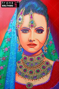 Gorgeous colourful Indian Bride painting 'Princess of Dehli'. Asian Bridal Portrait Art. Large contemporary hand painted painting. Unique colorful artwork.