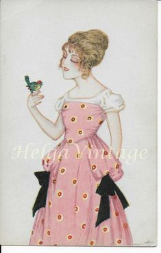 Italian CCM Art Deco art postcard with lady in pink dress with bird, cca. Photo Postcards, Vintage Postcards, 1920s Art, Italian Women, Victorian Women, Old Art, Vintage Art, Vintage Style, Blue Bird
