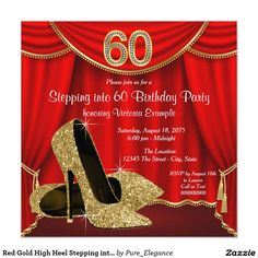 Red Gold High Heel Stepping into 60 Birthday Party Invitation  https://www.djs.durban