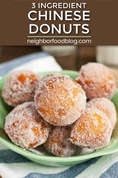 4 Points About Vintage And Standard Elizabethan Cooking Recipes! These Ridiculously Easy Chinese Donuts Require Only 3 Ingredients And Taste Just Like The Ones At The Chinese Buffet Asian Desserts, Köstliche Desserts, Delicious Desserts, Dessert Recipes, Chinese Desserts, Easy Chinese Food Recipes, Chinese Appetizers, Thai Recipes, Indian Recipes