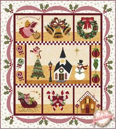 "Blessings of Christmas Morning - LASER CUT KIT: Celebrate Christmas with this beautiful quilt!   This stunning design was created right here at Shabby Fabrics by Jennifer Bosworth.  Finishing to 62 1/2"" x 69 1/2"", this wonderful quilt celebrates all the wonders of Christmas: an angel singing, bells a-ringing, a sleigh brimming with gifts, sweet candy canes and lollipops, and - of co…"
