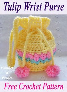 crochet handbags A sweet and feminine tulip wrist purse, designed to keep loose coins or girlie knick-knack's in. Made in close stitch with instructions of when . Crochet Purse Patterns, Crochet Pouch, Crochet Gifts, Crochet Bebe, Crochet For Kids, Free Crochet, Crochet Handbags, Crochet Purses, Crochet Shell Stitch