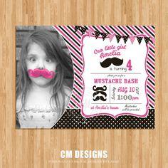 Pink Girl Mustache Birthday