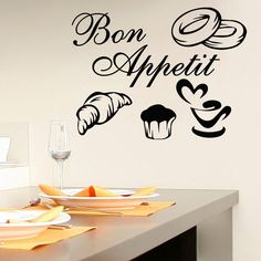 Wall Decals Kitchen Bon Appetit Sign Decal Coffee Cake Bagel Vinyl Sticker  MA183