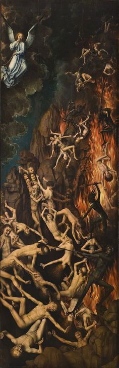 Hans Memling Last Judgment, , Muzeum Narodowe, Gdansk. Read more about the symbolism and interpretation of Last Judgment by Hans Memling. Arte Horror, Horror Art, Catholic Art, Religious Art, Dark Fantasy Art, Dark Art, Hans Memling, Renaissance Kunst, Satanic Art