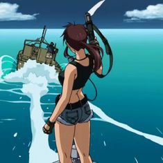 Here comes the Boom Black Lagoon Anime, Revy Black Lagoon, Manga Art, Manga Anime, Anime Art, Here Comes The Boom, Black Anime Characters, Cartoon Crossovers, Old Anime