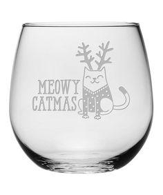 a7f61ca7c1f Susquehanna Glass 'Meowy Catmas' Stemless Wine Glass - Set of Four