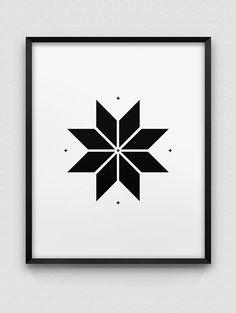 nordic style print // star design print // black by spellandtell