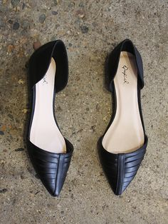 black pointed flats, cutout sides