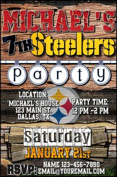 Pittsburgh steelers personalized party invitation 20 digital file pittsburgh steelers personalized party invitation 20 digital file you print party invitations pinterest filmwisefo Gallery