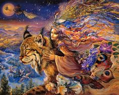 The Fantasy World of Josephine Wall. Josephine Wall Art Paintings of A magical world with celestial goddesses, fairies, and mythological characters, celestial Angles. Josephine Wall, Fantasy Kunst, 3d Fantasy, Fantasy World, Art And Illustration, Tiger Painting, Diy Painting, Images Wallpaper, Wall Wallpaper