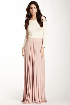 Rachel Pally Ribbed Seamed Maxi Skirt~ Beautiful lines. Why so long, even with heels it drags on the ground????