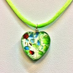 Heart pendant, double sided murano glass heart pendant with lime green silk cord and clasp by Tmlccreations on Etsy