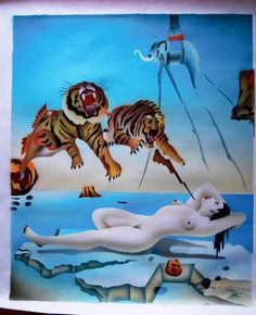 Abstract Oil Painting on Canvas Artist Salvador Dali dream bee tiger Repro woman #Surrealism