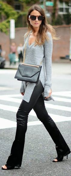 Spring street style | Leather pants grey shirt