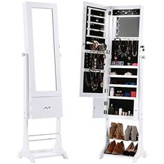 SONGMICS Wall Mount Mirrored Jewelry Cabinet Makeup Armoire Storage