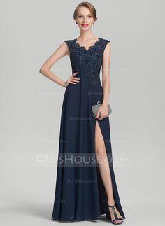 25de49980b5 A-Line/Princess V-neck Floor-Length Chiffon Lace Mother of the