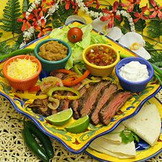 Fajitas Recipe - Grilled Marinated Skirt Steak Recipe. Steak marinade is low-iodine friendly if the salt is non-iodized. Use homemade tortillas, salsa, guacamole, black beans, sauteed onions/peppers...whatever you like!