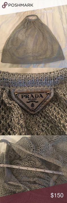 """Silver Prada mesh bag Authentic Prada mesh bag. Great lightweight bag. 20"""" long and 20"""" wide. Although the material is stretchy and expands beyond that! Prada Bags"""