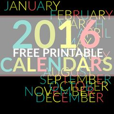 Get Organized with our fun FREE PRINTABLE 2016 CALENDAR: 12 Monthly Calendars in an easy-to-use Monday thru Sunday format. Great DIY Planner tips & free printables
