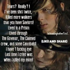 He's got a point. I really want Carl to kill one of the main bad guys next season, so everyone gets that he's not some stupid kid anymore (even if can be a bit whiny.)