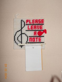 Please Leave a note in Plastic canvas by SpyderCrafts on Etsy, $5.00 #etsy #shoeptsy #plasticcanvas
